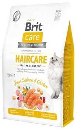 Беззерновой корм для ухода за кожей и шерстью котов Brit Care Cat Grain-Free Haircare Healthy & Shiny Coat