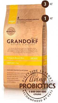 Сухой корм Grandorf Living Probiotics 4 Meat & Brown Rice Adult Mini