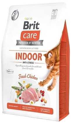 Беззерновой корм для взрослых домашних кошек Brit Care Cat Grain-Free Indoor Anti-Stress